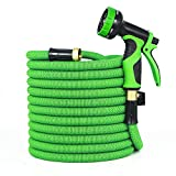 GardenJoy Garden Hose, 100ft Expandable Water Hose with All Improved Leakproof 3/4 Solid Brass Connector, 3300D Stretch Fabric With 9 Function High Pressure Spray Nozzle Flexible Expanding Hose, Green