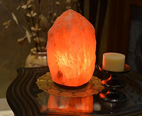 HemingWeigh Natural Himalayan Rock Salt Lamp 7-13 lbs with Wood Base, Electric Wire & Bulb by HemingWeigh (Image #1)