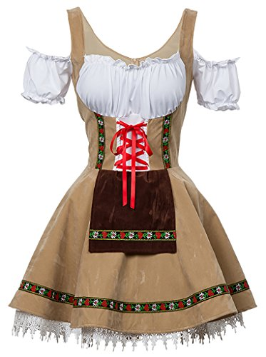 Alivila.Y Fashion Womens Oktoberfest Germany Bavarian Halloween Costume 31643-Cream-XL -