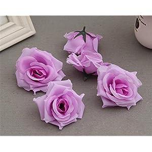 LEECOCO 100-Pack Elegant Roses Flower Head, Artificial Flowers Heads for Wedding Flowers Accessories Make Bridal Hair Clips Dress, Silk Rose Flower Head Light Purple 118
