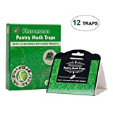 CO-Z 12Pcs Moth Traps Common Kitchen Moth Killer Moth Prevention Pheromone Attractant, Safe, Non-Toxic, No Insecticide, Odorless, Eco-Friendly (Pantry Moth Traps Green)