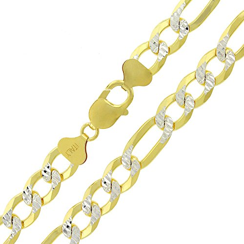 Sterling Silver Italian 10.5mm Figaro Link Diamond Cut Two-Tone Yellow ITProLux Solid 925 Necklace Chain 24'' - 30'' (26) by In Style Designz