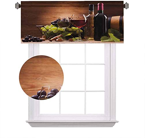 Wine Window Valance,Glasses of Red and White Wine Served with Grapes French Gourmet Tasting Decorative Curtain Valance for Kitchen Bedroom Decor with Rod Pocket,52 x 18 ,Brown Ruby Light Green