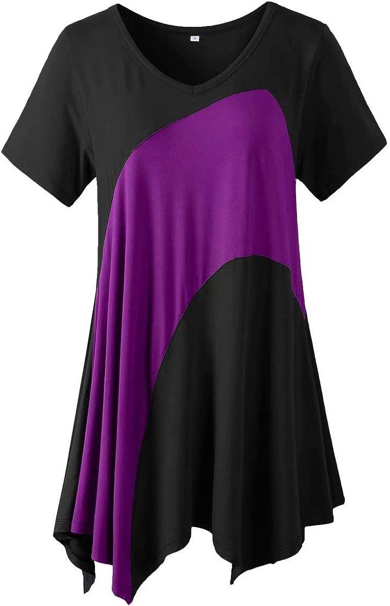 LARACE Tunic Tops for Women Color Block V-Neck Flattering Asymmetrical Hemline Long Shirt