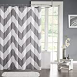 Shower Curtain Mildew-Free Fabric Chevron For Bathroom 72''X72'' Inch Water-Repellent Polyester Grey Stripe