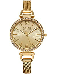 Womens 5061M.3 SoHo Quartz Crystal Accent 23K Gold-Tone Mesh Bracelet Watch