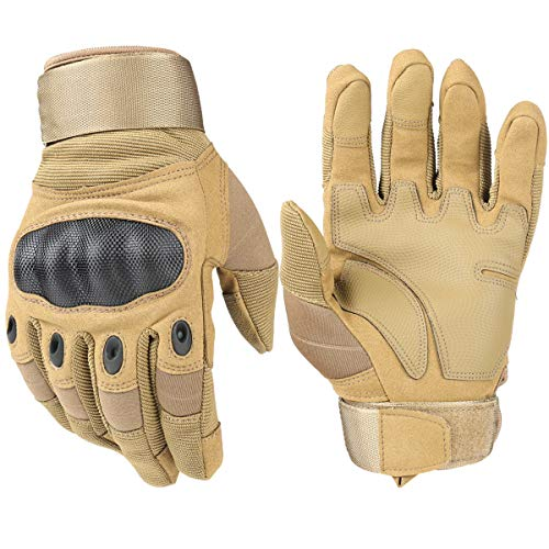 HIKEMAN Tactical Army Military Rubber Hard Knuckle Outdoor Full Finger Gloves for Men Fit for Cycling Motorcycle Hiking Camping Airsoft Paintball (Tan, Large) -