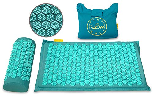 TimeBeeWell Eco-Friendly Back and Neck Pain Relief - Acupressure Mat and Pillow Set - Relieves Stress, Back, Neck, and Sciatic Pain - Comes in a Carry Bag for Storage and Travel (Teal)