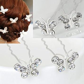 Weddings Bridesmaides Rhinestone Hairpins Embellished Hairpins Ballet Bridal Rhinestone Butterfly Hairpins lulusballetwraps