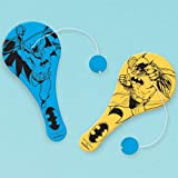 Amscan Batman Favors Paddle Ball 12 Pieces - 394186, Blue/Yellow