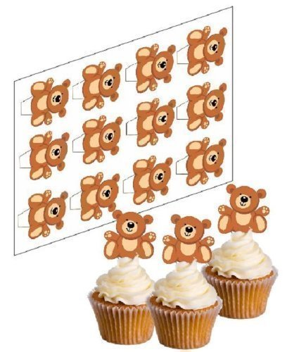Teddy Topps (simply topps 12 Teddy Bear Cupcake Picks! - 'Stand Up' ricepaper cake decorations (uncut))