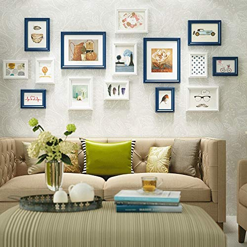 IhDFR Photo Wall Wooden Modern Style Home Decor Wall 15 Collage Frame Rustic Style Solid Wood Photo Frame (Color : Blue)
