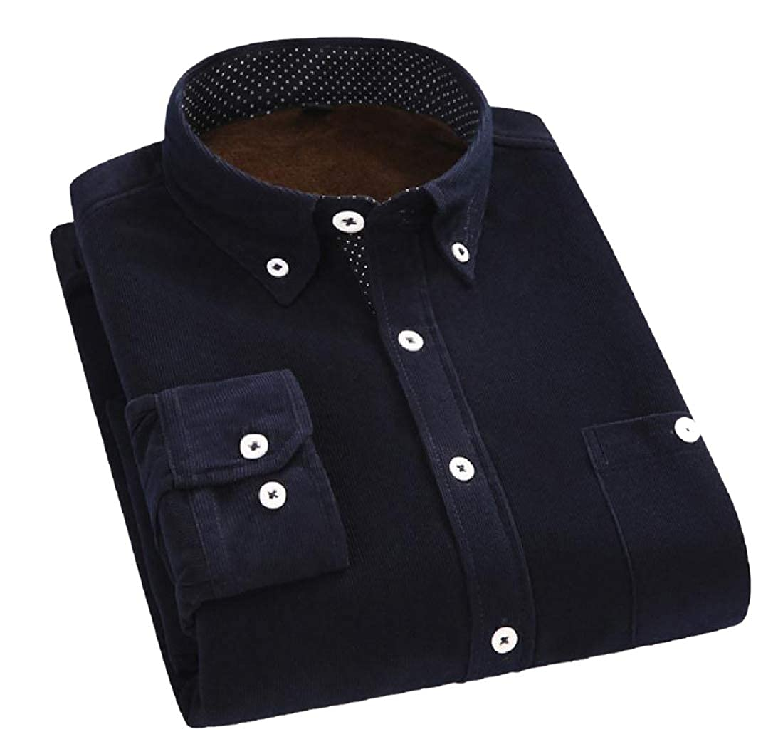 YUNY Men Everyday Regular Fit Plus Velvet Button Down Dress Shirt Navy Blue S