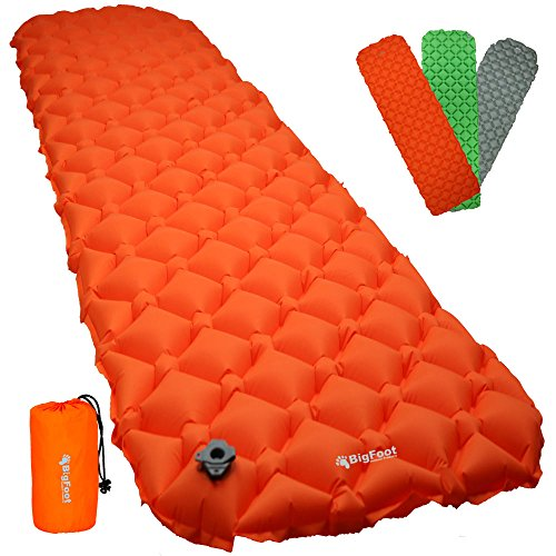 Bigfoot Outdoor Ultra-Compact Airlite Backpacking Air Mattress w/ Cell Technology - Super Comfortable - Perfect for Lightweight Backpacking - Free Repair Kit Included (Orange) (Mattress Air Compact)