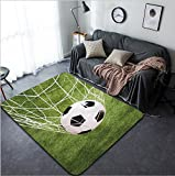 Vanfan Design Home Decorative Close-up Of A Soccer Ball In Net Modern Non-Slip Doormats Carpet for Living Dining Room Bedroom Hallway Office Easy Clean Footcloth