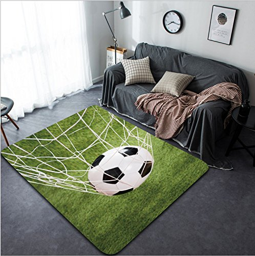 Vanfan Design Home Decorative Close-up Of A Soccer Ball In Net Modern Non-Slip Doormats Carpet for Living Dining Room Bedroom Hallway Office Easy Clean Footcloth by vanfan