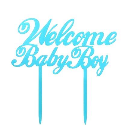amazon com blue welcome baby boy cake topper baby boy shower cake