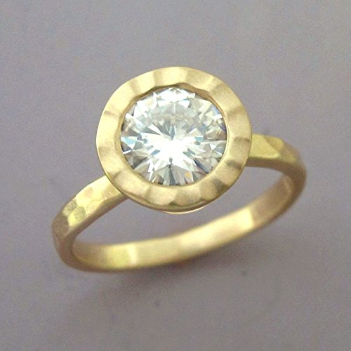 7 mm Forever Brilliant Moissanite Engagement Ring in 14k Yellow Gold - Hand Hammered with Hammered Bezel