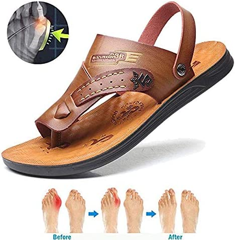 Men Bunion Correction Sandal Big Toe Hallux Valgus Orthopedic Slippers Comfy PU Leather Sandals Hiking Beach Shoes,38