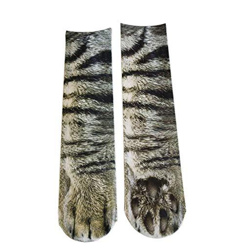 PASATO Animal Paw Socks Paw Print 3D Keep warm Deodorant Cotton Socks Novelty Animal Paws Crew Socks for Men Women Kids(Multicolor-M,Free Size)
