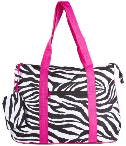 Ever Moda Zebra Print Extra Large Tote Bag with Coin Purse, Black and White with Pink Trim