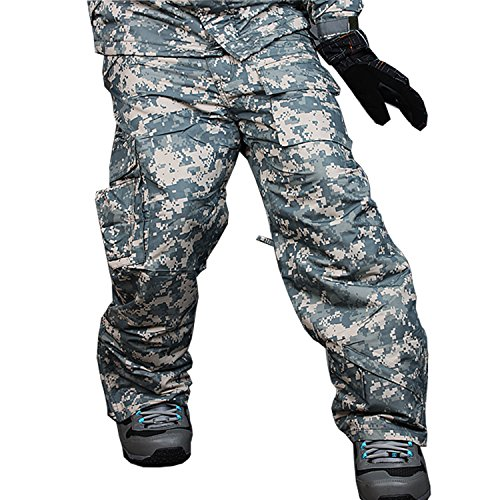 myglory77mall Mens Winter Warm Waterproof Hip Ski Snowboard Military Camo Pants S12 US XL by myglory77mall