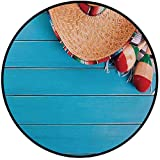 Printing Round Rug,Mexican Decorations,Native Latin Elements with Sombrero and Maracas on Wood Background Mat Non-Slip Soft Entrance Mat Door Floor Rug Area Rug For Chair Living Room,Blue Cream