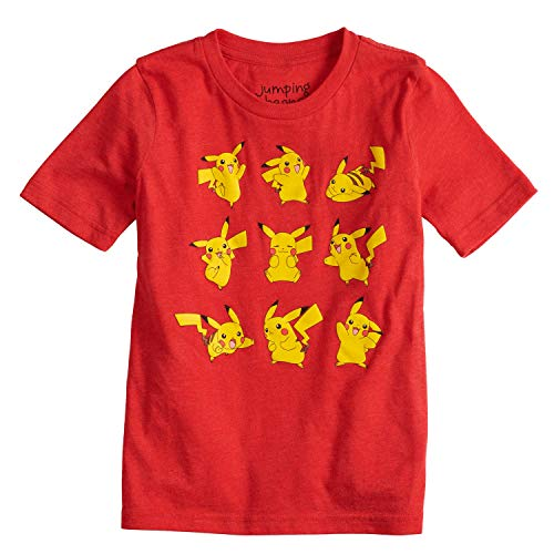 Jumping Beans Boys 4-10 Pokemon Pikachu Poses Graphic Tee 6 Red Heather (Pokemon Shoes Boys)