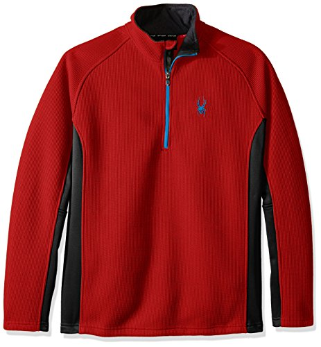 Spyder Men's Outbound Half Zip Tailored Mid Weight Stryke Fleece Jacket, Medium, Formula/Black/Electric Blue
