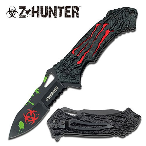 NEW! Z-Hunter Zombie Killer Red Biohazard Cool ProTactical Limited Edition Elite ed Folding Knife -