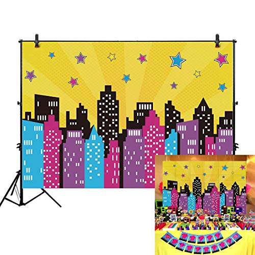 Allenjoy 7x5ft Superhero Backdrop Party Happy Birthday Pink Colorful Watercolor City Skyline Buildings for Girl Kids Baby Shower Banner Favors Photography Background Photo Studio Booth Decoration -