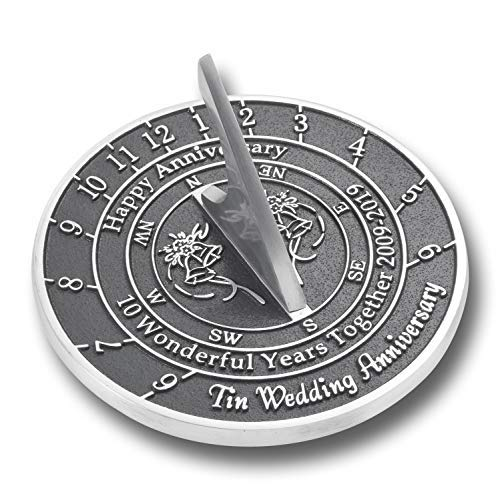 The Metal Foundry 10th Tin Wedding Anniversary 2019 Sundial Gift Idea is A Great Present for Him, for Her Or for A Couple to Celebrate 10 Years of Marriage (Anniversary Aluminum Gifts)
