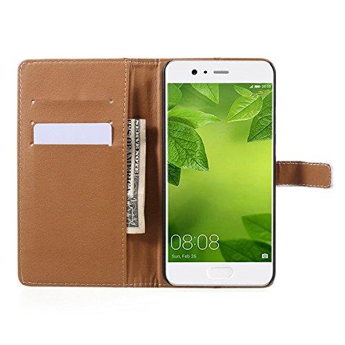 Vandot para Huawei P10 Plus PU Funda Serie Bolsa Modelo Colorido con Bonito Hermoso Patrón de Impresión Dibujo Monedero de la Cartera de la Cubierta Móvil del Bolso del Teléfono Móvil del Proteja la p HSD 12