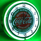 COCA COLA 18'' DOUBLE NEON LIGHT CHROME CLOCK BOTTLE SIGN DISTRESSED VINTAGE STYLE GREEN/RED