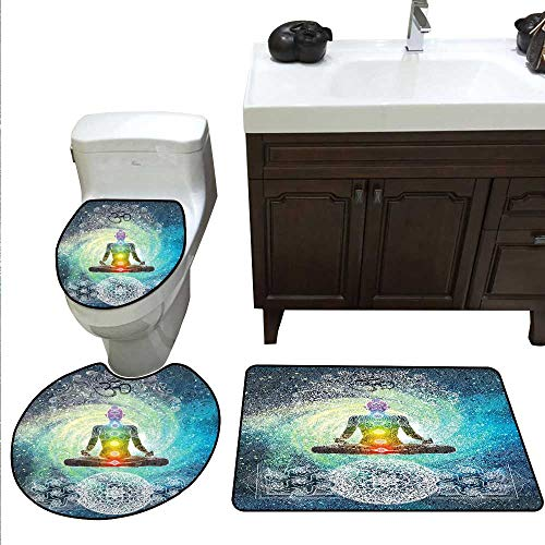 Yoga 3 Piece Toilet mat Set Mandala Design Zen Meditation Hippie Style with Sign Chakra Art Print Bathroom and Toilet mat Set Turquoise Dark Blue - Sign Patriots Neon New England