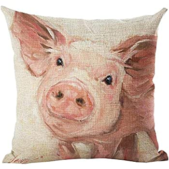YANGYULU Oil Painting Lovely Animal Pink Pig Cotton Linen Home Decorative Throw Pillow Case Cushion Cover for Couch Sofa Bed 18