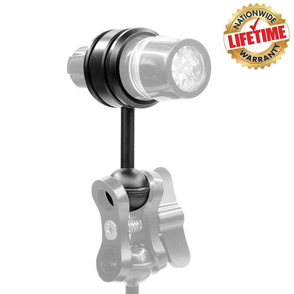 WEIHE Aluminum Alloy Diving Flashlight Clamp 35mm Mount Holder Bracket Connect with 1'' Ball Underwater Arm System by WEIHE