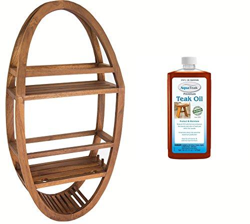 AquaTeak Patented Moa Oval Teak Shower Organizer Premium Teak Oil from AquaTeak