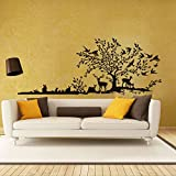 Wawoo Creative DIY Jungle Forest Animals and Tree Wall Sticker Decal Murals, Removable Vinyl Art Deers Rabbits and Flying Birds Wall Sticker Murals for Home Living Room Bedroom Decoration