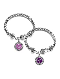 Inspired Silver Best Friends Set Circle Charm Braided Bracelet Silver Plated with Crystal Rhinestones