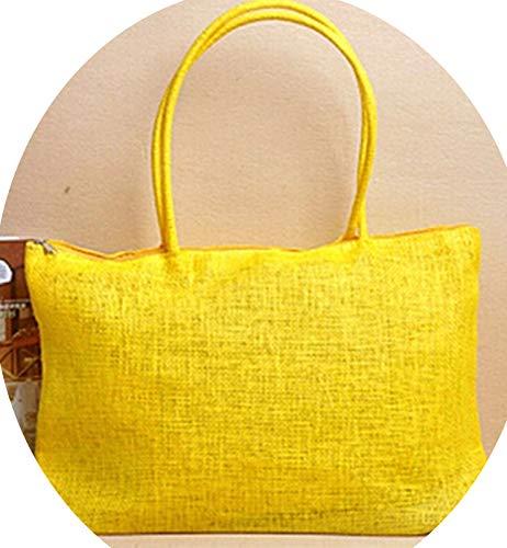 Summer Straw Beach Tote Shopper Women Messenger Bags Ladies Handbags Kabelky,yellow,45cm x ()