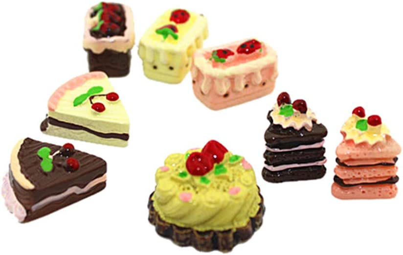 SXFSE Dollhouse Decoration Accessories,1/12 Scale Miniature Dollhouse Accessories Decoration Mini Cake Food Kids Toy