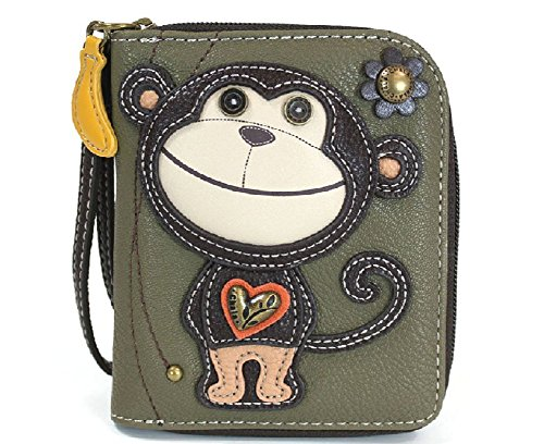 CHALA Zip Around Wallet, Wristlet, 8 Credit Card Slots, Sturdy Pu Leather - Monkey - Olive