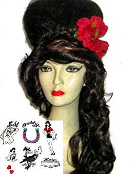 Amy Winehouse Fancy Dress Wig & Tattoo Kit - Deluxe (peluca)
