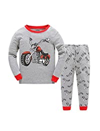 Gold treasure Little Kids Sleepwear Long Sleeve Pajama Set with Cartoon Red Motorbike