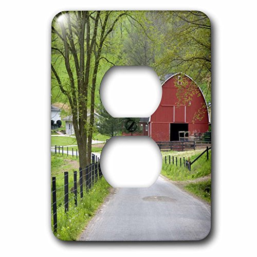 3dRose lsp_93372_6 Red barn and Farm House Near Berlin, Ohio-US36 DFR0019-David R. Frazier 2 Plug Outlet Cover Multicolor