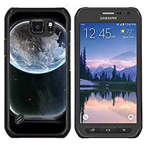 TECHCASE---Cubierta de la caja de protección para la piel dura ** Samsung Galaxy S6 Active G890A ** --Tierra Ventana Spaceship Ver Art Blue Planet