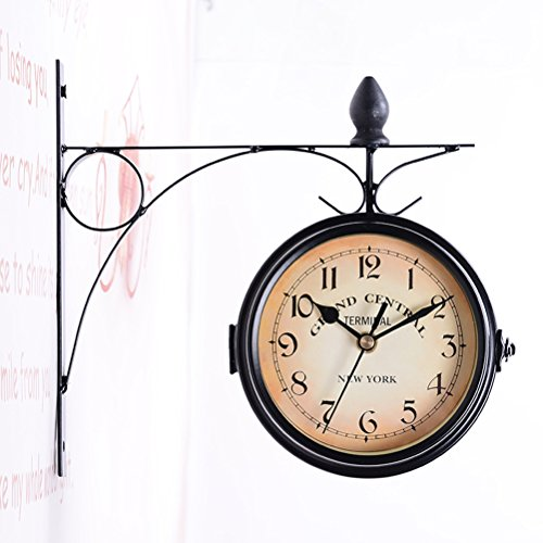 WINOMO European Antique Style Double Side Wall Clock Creative Classic Clocks (Station Central Clock)