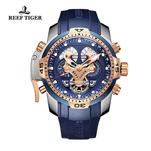 Reef Tiger Mens Complicated Blue Dial Steel Automatic Watch RGA3503