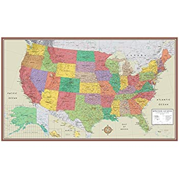 24x36 United States Usa Contemporary Elite Wall Map Poster 24x36 Laminated